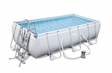 Bestway Power Steel Rectangular Frame Pool Set, grau, 404 x 201 x 100 cm Stahlrahmenpool Set mit Filterpumpe - 1