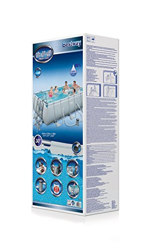 Bestway Power Steel Rectangular Frame Pool Set, grau, 404 x 201 x 100 cm Stahlrahmenpool Set mit Filterpumpe - 3