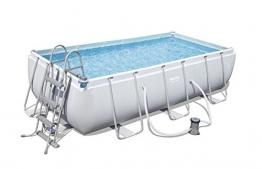 Bestway Power Steel Rectangular Frame Pool Set, grau, 404 x 201 x 100 cm Stahlrahmenpool Set mit Filterpumpe - 1