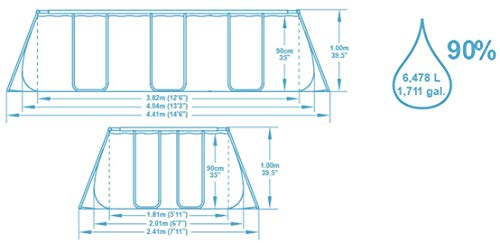 Bestway Power Steel Rectangular Frame Pool Set, Stahlrahmenpool Set mit Filterpumpe, 404 x 201 x 100 cm - 11