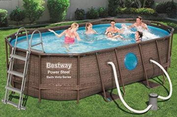 Bestway Power Steel Swim Vista 424x250x100 cm, Frame Pool oval Komplett-Set mit stabilem Stahlrahmen, rattan - 2