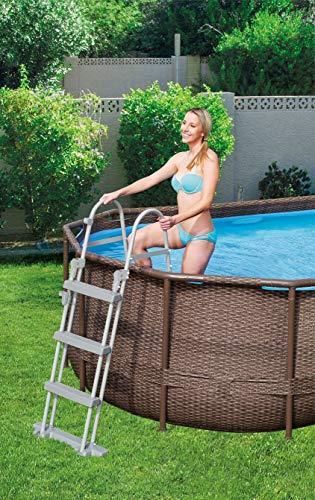 Bestway Power Steel Swim Vista 424x250x100 cm, Frame Pool oval Komplett-Set mit stabilem Stahlrahmen, rattan - 11