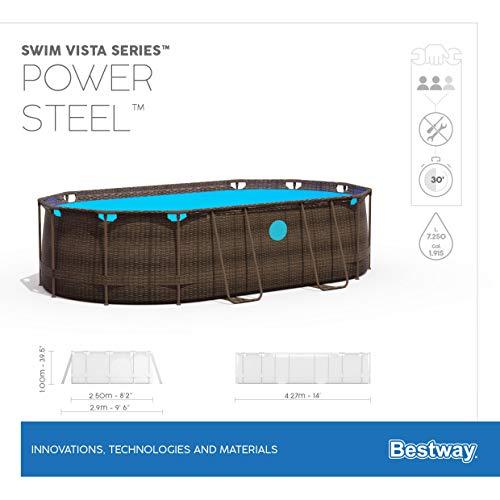 Bestway Power Steel Swim Vista 424x250x100 cm, Frame Pool oval Komplett-Set mit stabilem Stahlrahmen, rattan - 14