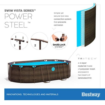 Bestway Power Steel Swim Vista 424x250x100 cm, Frame Pool oval Komplett-Set mit stabilem Stahlrahmen, rattan - 15