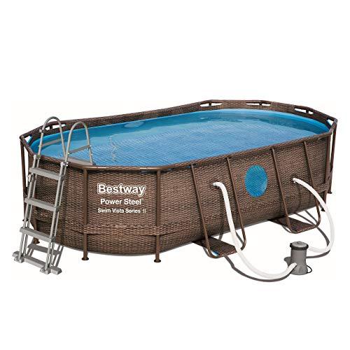 Bestway Power Steel Swim Vista 424x250x100 cm, Frame Pool oval Komplett-Set mit stabilem Stahlrahmen, rattan - 4