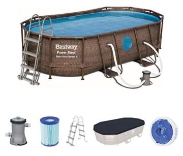 Bestway Power Steel Swim Vista 424x250x100 cm, Frame Pool oval Komplett-Set mit stabilem Stahlrahmen, rattan - 1
