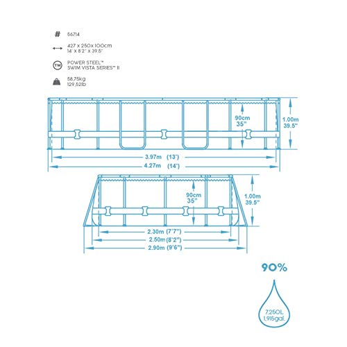 Bestway Power Steel Swim Vista 424x250x100 cm, Frame Pool oval Komplett-Set mit stabilem Stahlrahmen, rattan - 5