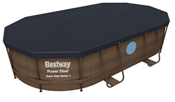 Bestway Power Steel Swim Vista 424x250x100 cm, Frame Pool oval Komplett-Set mit stabilem Stahlrahmen, rattan - 8