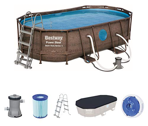 Bestway Power Steel Swim Vista 424x250x100 cm, Frame Pool oval Komplett-Set mit stabilem Stahlrahmen, rattan - 1