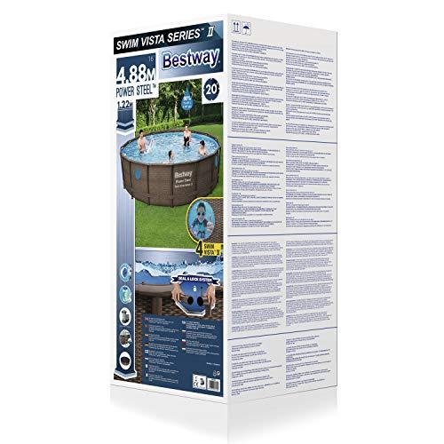 Bestway Power Steel Swim Vista 488x122 cm, Frame Pool rund mit stabilem Stahlrahmen im Komplett-Set, rattan - 2