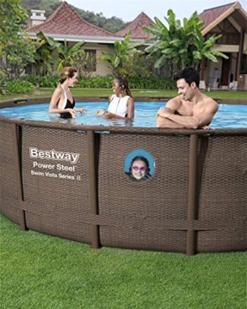 Bestway Power Steel Swim Vista 488x122 cm, Frame Pool rund mit stabilem Stahlrahmen im Komplett-Set, rattan - 13