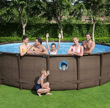 Bestway Power Steel Swim Vista 488x122 cm, Frame Pool rund mit stabilem Stahlrahmen im Komplett-Set, rattan - 14