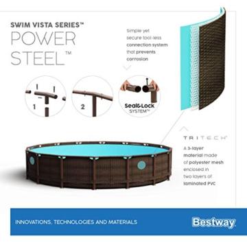 Bestway Power Steel Swim Vista 488x122 cm, Frame Pool rund mit stabilem Stahlrahmen im Komplett-Set, rattan - 15