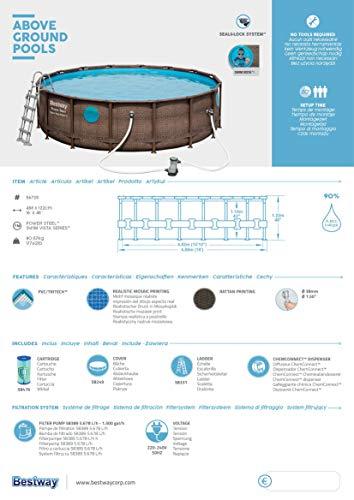 Bestway Power Steel Swim Vista 488x122 cm, Frame Pool rund mit stabilem Stahlrahmen im Komplett-Set, rattan - 16