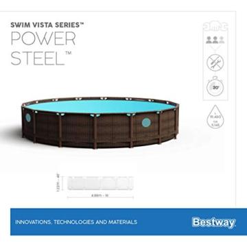 Bestway Power Steel Swim Vista 488x122 cm, Frame Pool rund mit stabilem Stahlrahmen im Komplett-Set, rattan - 17