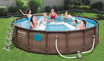 Bestway Power Steel Swim Vista 488x122 cm, Frame Pool rund mit stabilem Stahlrahmen im Komplett-Set, rattan - 3