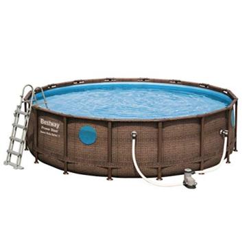 Bestway Power Steel Swim Vista 488x122 cm, Frame Pool rund mit stabilem Stahlrahmen im Komplett-Set, rattan - 4