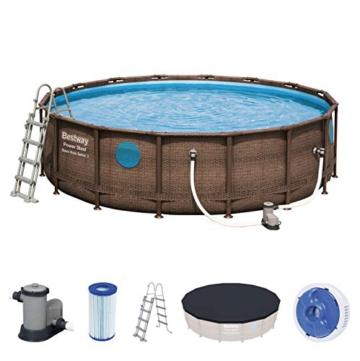 Bestway Power Steel Swim Vista 488x122 cm, Frame Pool rund mit stabilem Stahlrahmen im Komplett-Set, rattan - 1