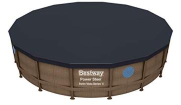 Bestway Power Steel Swim Vista 488x122 cm, Frame Pool rund mit stabilem Stahlrahmen im Komplett-Set, rattan - 10