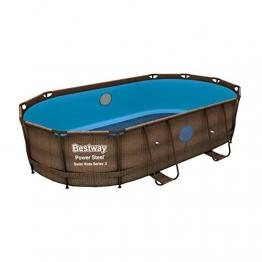Bestway Power Steel Swim Vista Frame-Pool/Gartenpool ohne Zubehör, oval, 427x250x100 cm, Rattan-Optik, Ersatzpool, Stahlrahmen - 1