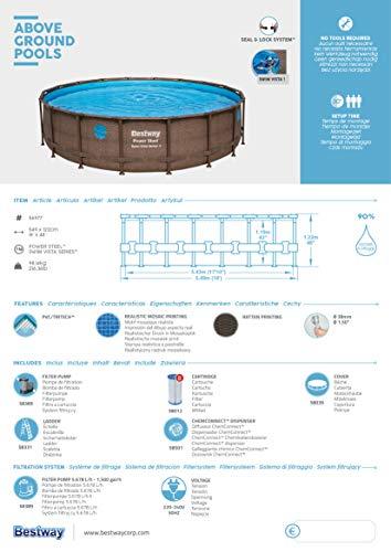 BESTWAY Power Steel Swim Vista Series Stahlrahmenbecken, rattan braun - 14