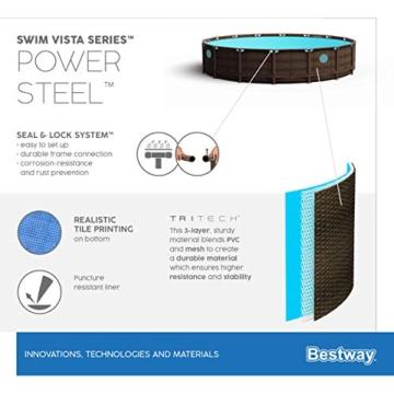 BESTWAY Power Steel Swim Vista Series Stahlrahmenbecken, rattan braun - 16