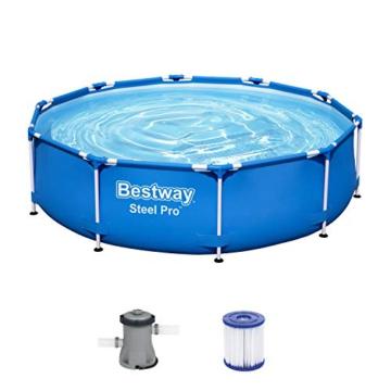Bestway Steel Pro Frame Pool, 305 x 76 cm, Set mit Filterpumpe, rund, blau - 1