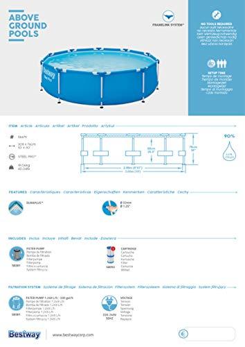 Bestway Steel Pro Frame Pool, 305 x 76 cm, Set mit Filterpumpe, rund, blau - 11