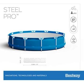Bestway Steel Pro Frame Pool, 305 x 76 cm, Set mit Filterpumpe, rund, blau - 12