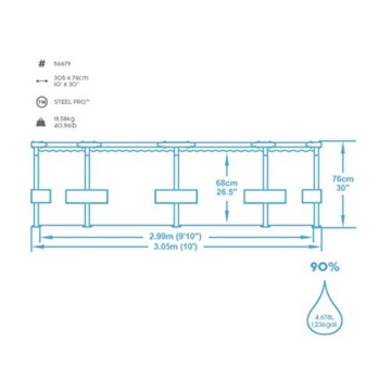 Bestway Steel Pro Frame Pool, 305 x 76 cm, Set mit Filterpumpe, rund, blau - 5