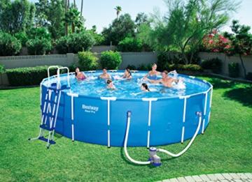 Bestway Steel Pro Frame Pool Komplettset rund, mit Kartuschenfilterpumpe, Leiter, Boden- und Abdeckplane, 549x122 cm, blau - 2