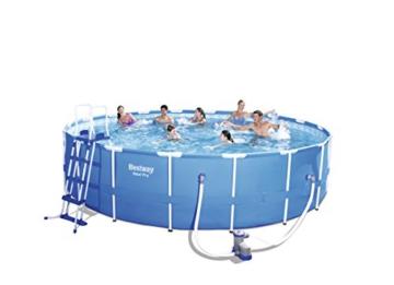 Bestway Steel Pro Frame Pool Komplettset rund, mit Kartuschenfilterpumpe, Leiter, Boden- und Abdeckplane, 549x122 cm, blau - 1