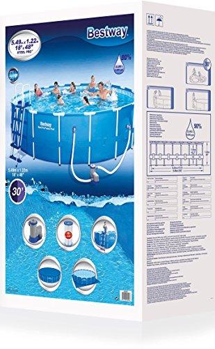 Bestway Steel Pro Frame Pool Komplettset rund, mit Kartuschenfilterpumpe, Leiter, Boden- und Abdeckplane, 549x122 cm, blau - 5