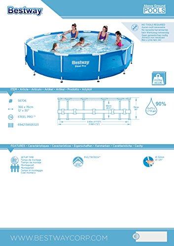 Bestway Steel Pro Frame Pool ohne Pumpe, rund 366x76cm Stahlrahmenpool, blau - 6