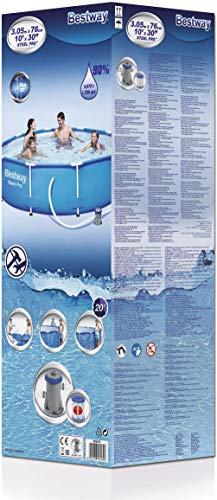 Bestway Steel Pro Frame Pool, rund 305x76 cm Stahlrahmenpool-Set mit Filterpumpe, blau - 4