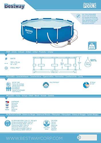 Bestway Steel Pro Frame Pool, rund 305x76 cm Stahlrahmenpool-Set mit Filterpumpe, blau - 5