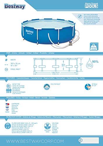 Bestway Steel Pro Frame Pool, rund 305x76 cm Stahlrahmenpool-Set mit Filterpumpe, blau - 7