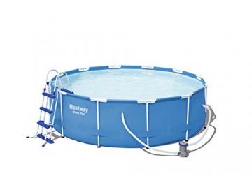 Bestway Steel Pro Frame Pool Set rund, mit filterpumpe und Leiter, 366 x 100 cm, blau - 1