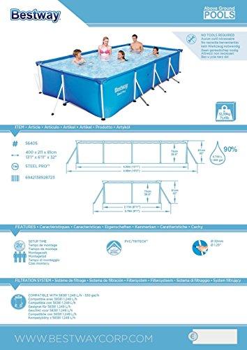 Bestway Steel Pro Frame rechteckig Pool, ohne Pumpe, blau, 400 x 211 x 81 cm - 2