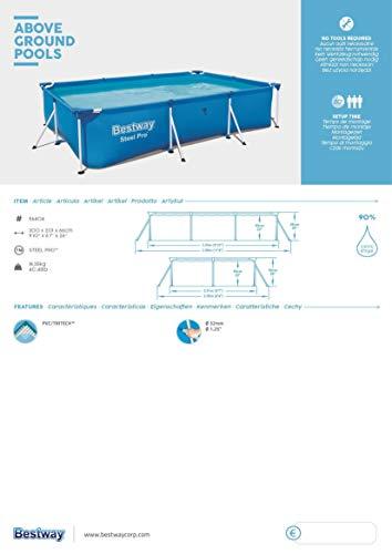 Bestway Steel Pro Framepool ohne Pumpe, eckig, 300 x 201 x 66 cm - 4