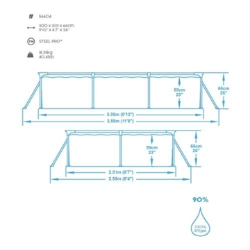 Bestway Steel Pro Framepool ohne Pumpe, eckig, 300 x 201 x 66 cm - 5