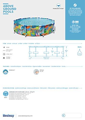 Bestway Steel Pro Framepool ohne Pumpe, rund, 305 x 66 cm Pool, blau - 12