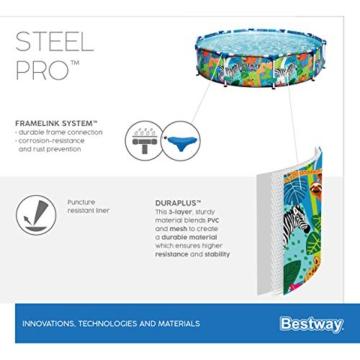 Bestway Steel Pro Framepool ohne Pumpe, rund, 305 x 66 cm Pool, blau - 14