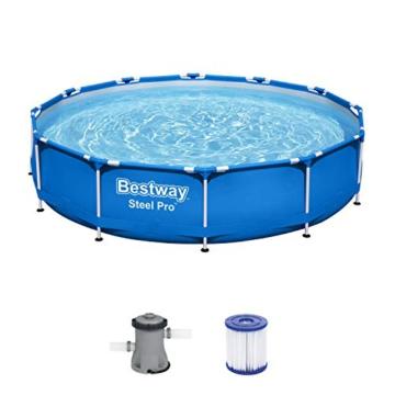 Bestway Steel Pro Framepool ohne Pumpe, rund, 366 x 76 cm Pool, Blau - 1