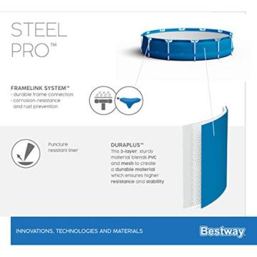 Bestway Steel Pro Framepool ohne Pumpe, rund, 366 x 76 cm Pool, Blau - 11