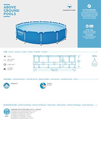 Bestway Steel Pro Framepool ohne Pumpe, rund, 366 x 76 cm Pool, Blau - 9