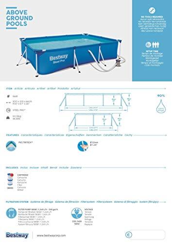 Bestway Steel Pro Framepool-Set, eckig, mit Filterpumpe 300 x 201 x 66 cm - 2