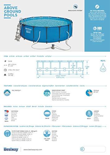 Bestway Steel Pro Max 457x122 cm, stabiler Frame Pool rund im Komplett Set, inklusive Filterpumpe, Sicherheitsleiter und PVC-Abdeckplane - 11