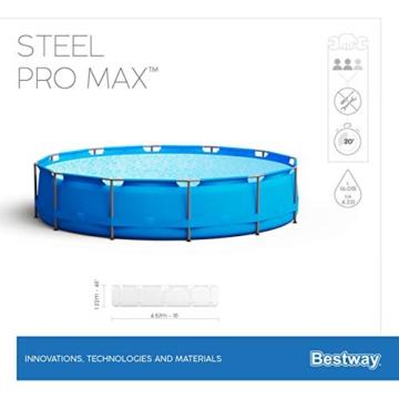 Bestway Steel Pro Max 457x122 cm, stabiler Frame Pool rund im Komplett Set, inklusive Filterpumpe, Sicherheitsleiter und PVC-Abdeckplane - 12