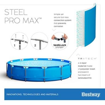 Bestway Steel Pro Max 457x122 cm, stabiler Frame Pool rund im Komplett Set, inklusive Filterpumpe, Sicherheitsleiter und PVC-Abdeckplane - 13
